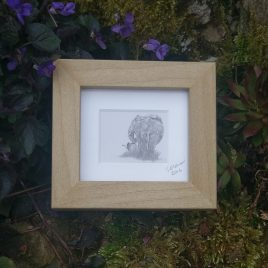 Mini Framed Elephant Print
