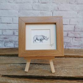 Mini Framed Rhino Print